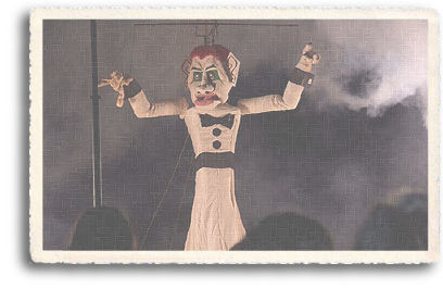 The beginning of Zozobra, the burning of Old Man Gloom. The smoke rises around the giant marionette in Santa Fe, New Mexico.