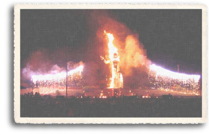 "Zozobra burning in all its glory in the ""Burning of Old Man Gloom"" in Santa Fe, New Mexico."